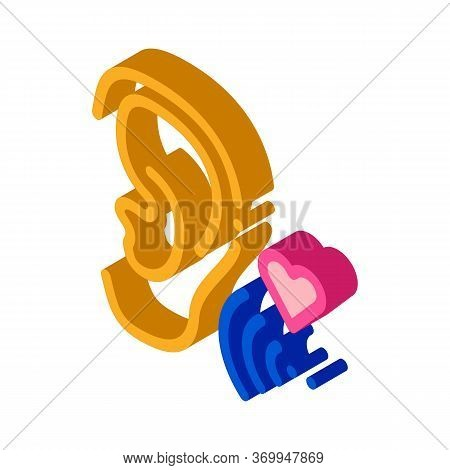 Pleasant Sound For Ear Icon Vector. Isometric Pleasant Sound For Ear Sign. Color Isolated Symbol Ill