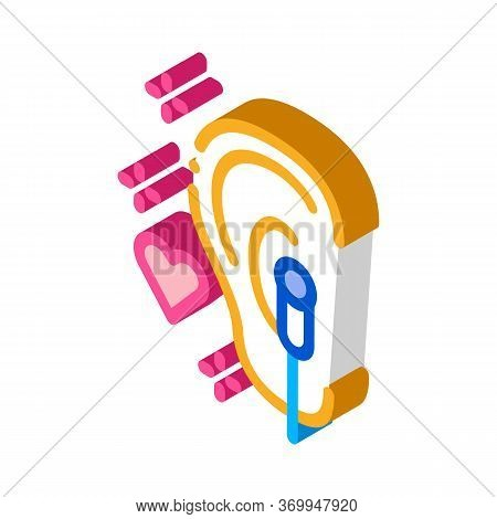 Enjoying Music On Headphones Icon Vector. Isometric Enjoying Music On Headphones Sign. Color Isolate