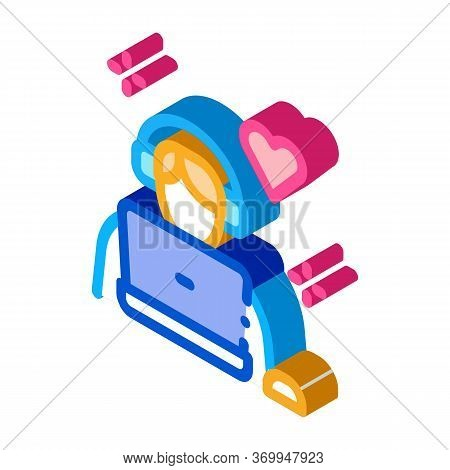 Man In Headphones At Computer Icon Vector. Isometric Man In Headphones At Computer Sign. Color Isola
