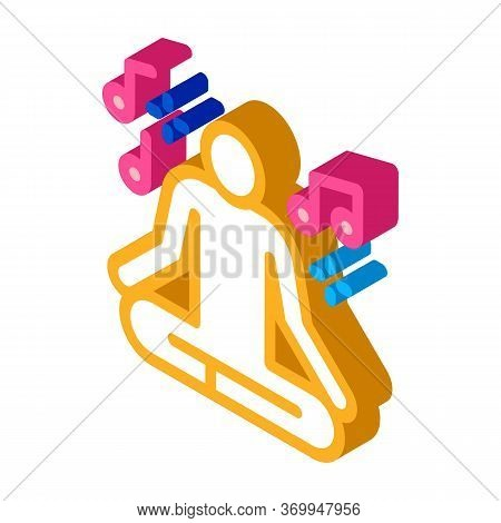 Musical Man Relaxation Icon Vector. Isometric Musical Man Relaxation Sign. Color Isolated Symbol Ill