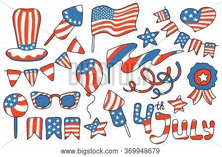 4 July Usa Independence Day Vector Clipart On White Background. American Independence Day Digital Cl