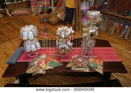 Palawan, Ph - Dec 1 - Assorted Weaving Product Display At Binuatan Creations On December 1, 2009 In