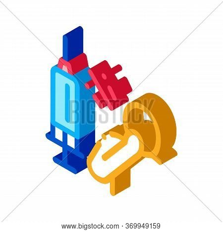 Syringe Man Fear Icon Vector. Isometric Syringe Man Fear Sign. Color Isolated Symbol Illustration