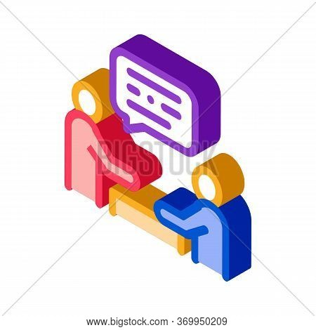 Dialogue Of Two People Icon Vector. Isometric Dialogue Of Two People Sign. Color Isolated Symbol Ill