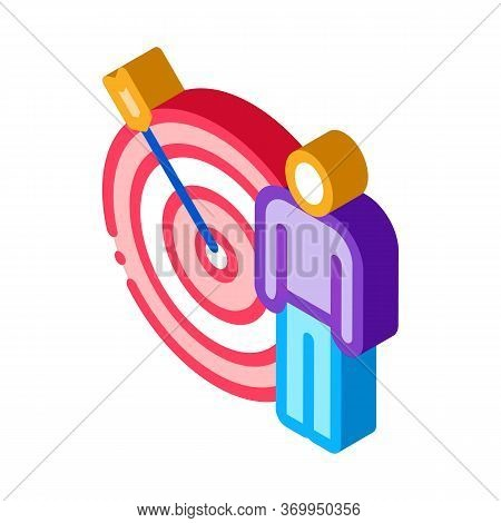 Target Hit Icon Vector. Isometric Target Hit Sign. Color Isolated Symbol Illustration