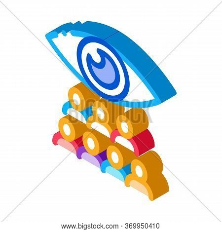Watching Team Of People Icon Vector. Isometric Watching Team Of People Sign. Color Isolated Symbol I