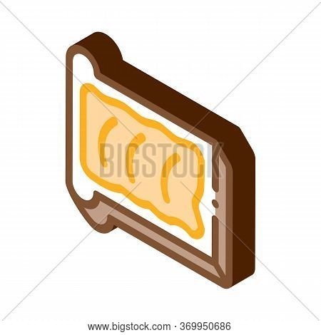 Toast With Butter Icon Vector. Isometric Toast With Butter Sign. Color Isolated Symbol Illustration