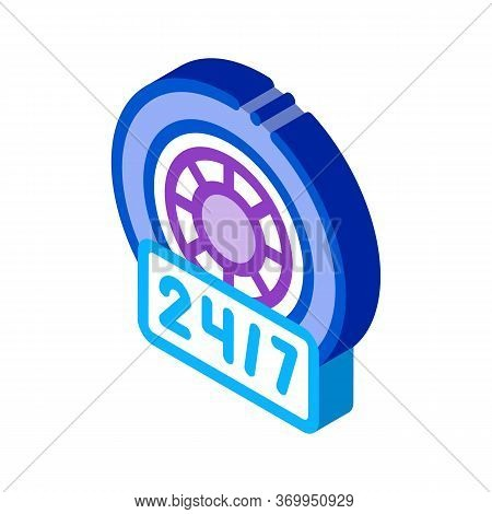 Round-the-clock Repair Of Wheels And Tires Icon Vector. Isometric Round-the-clock Repair Of Wheels A