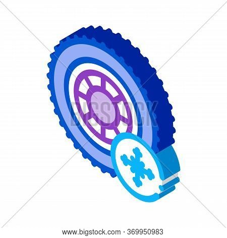 Winter Tires Icon Vector. Isometric Winter Tires Sign. Color Isolated Symbol Illustration