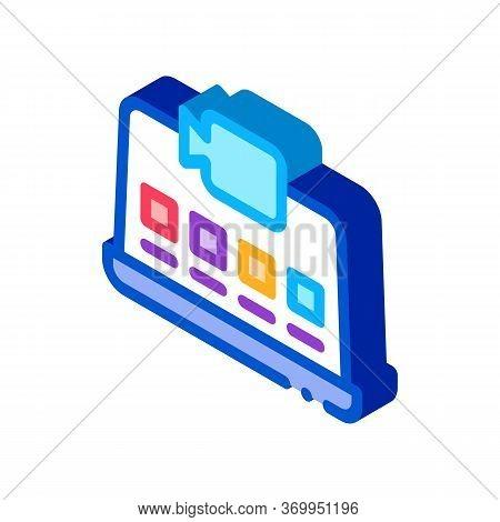 Laptop Video Recording Icon Vector. Isometric Laptop Video Recording Sign. Color Isolated Symbol Ill