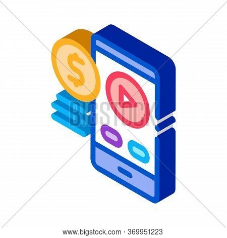 Selling Phone Player Icon Vector. Isometric Selling Phone Player Sign. Color Isolated Symbol Illustr