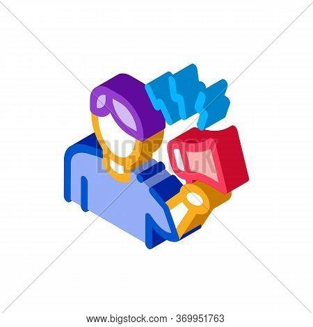 Loudspeaker Man Icon Vector. Isometric Loudspeaker Man Sign. Color Isolated Symbol Illustration