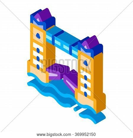 Drawbridge Icon Vector. Isometric Drawbridge Sign. Color Isolated Symbol Illustration