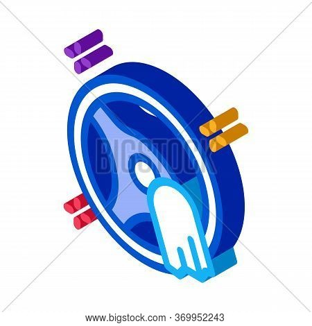Steering Wheel Cleaning Icon Vector. Isometric Steering Wheel Cleaning Sign. Color Isolated Symbol I