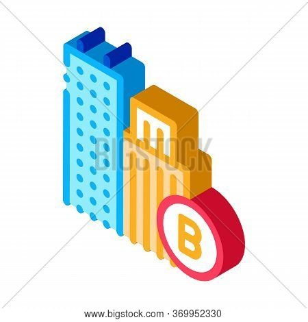 Built Residential Buildings Icon Vector. Isometric Built Residential Buildings Sign. Color Isolated