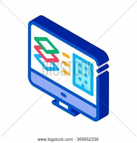 Computer Simulation Of Building Icon Vector. Isometric Computer Simulation Of Building Sign. Color I