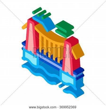 Suspension Bridge In Water Icon Vector. Isometric Suspension Bridge In Water Sign. Color Isolated Sy