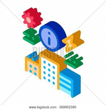 Information About Supply Of Electricity To House Icon Vector. Isometric Information About Supply Of