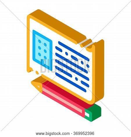 Written Building Information Model Icon Vector. Isometric Written Building Information Model Sign. C
