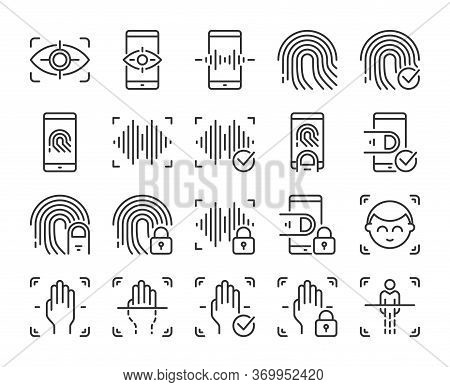 Biometric Icons. Biometric Verification And Identification Line Icon Set. Vector Illustration. Edita