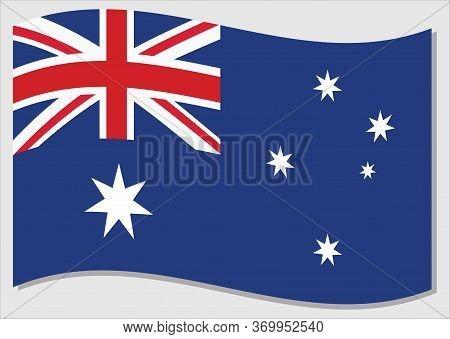 Waving Flag Of Australia Vector Graphic. Waving Australian Flag Illustration. Australia Country Flag
