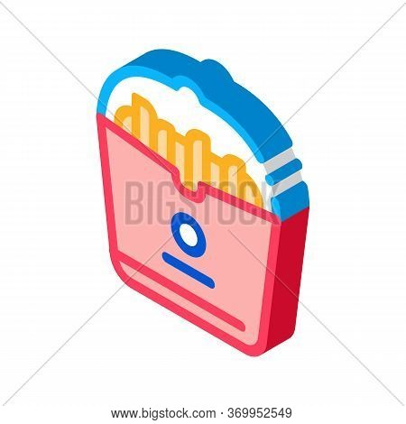 French Fries Icon Vector. Isometric French Fries Sign. Color Isolated Symbol Illustration