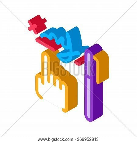 Handwriting Graphical Analysis Icon Vector. Isometric Handwriting Graphical Analysis Sign. Color Iso
