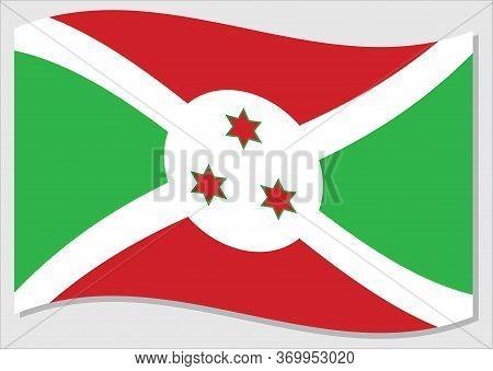 Waving Flag Of Burundi Vector Graphic. Waving Burundian Flag Illustration. Burundi Country Flag Wavi
