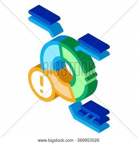 Pie Chart Error Icon Vector. Isometric Pie Chart Error Sign. Color Isolated Symbol Illustration
