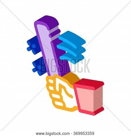 Man Hand With Bat Icon Vector. Isometric Man Hand With Bat Sign. Color Isolated Symbol Illustration