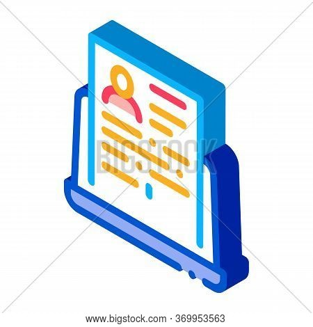 Complete Computer Information About Person Icon Vector. Isometric Complete Computer Information Abou