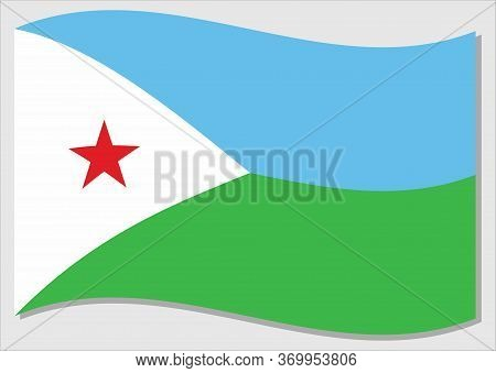 Waving Flag Of Djibouti Vector Graphic. Waving Djiboutian Flag Illustration. Djibouti Country Flag W