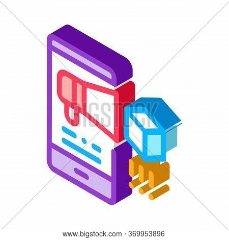 Telephone Notification Of Parcel Icon Vector. Isometric Telephone Notification Of Parcel Sign. Color