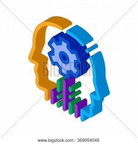 Cerebral Hemisphere Settings Icon Vector. Isometric Cerebral Hemisphere Settings Sign. Color Isolate