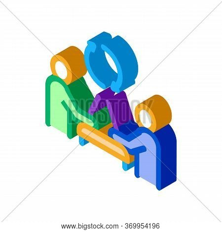 Exchange Of Computer Experience Icon Vector. Isometric Exchange Of Computer Experience Sign. Color I