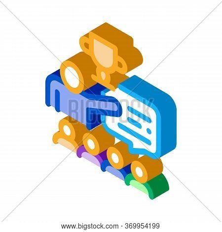 Winning Cup Value Icon Vector. Isometric Winning Cup Value Sign. Color Isolated Symbol Illustration