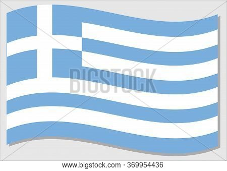 Waving Flag Of Greece Vector Graphic. Waving Greek Flag Illustration. Greece Country Flag Wavin In T
