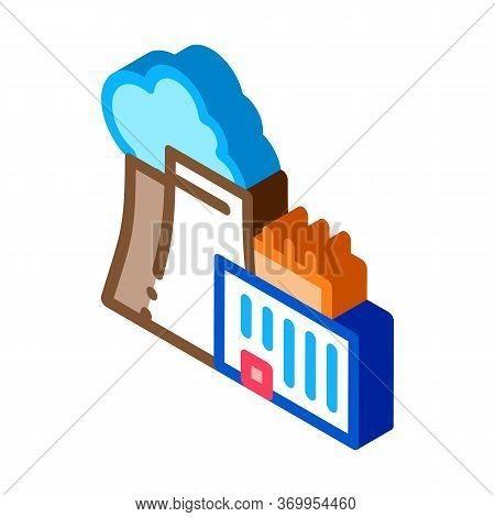 Nuclear Power Plant Icon Vector. Isometric Nuclear Power Plant Sign. Color Isolated Symbol Illustrat