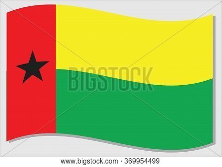 Waving Flag Of Guinea Bissau Vector Graphic. Waving Guinean Flag Illustration. Guinea Bissau Country