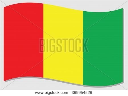 Waving Flag Of Guinea Vector Graphic. Waving Guinean Flag Illustration. Guinea Country Flag Wavin In