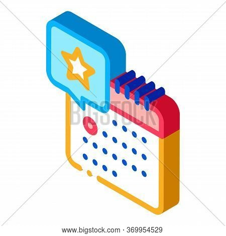 Starry Day On Calendar Icon Vector. Isometric Starry Day On Calendar Sign. Color Isolated Symbol Ill