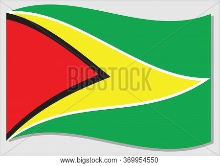 Waving Flag Of Guyana Vector Graphic. Waving Guyanese Flag Illustration. Guyana Country Flag Wavin I
