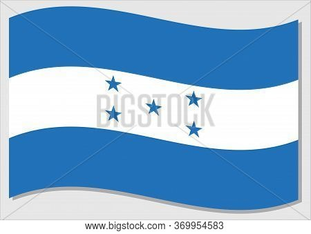 Waving Flag Of Honduras Vector Graphic. Waving Honduran Flag Illustration. Honduras Country Flag Wav
