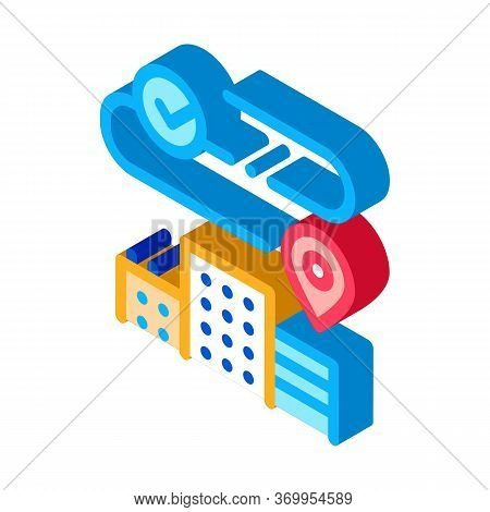Geolocation In Residential Buildings Icon Vector. Isometric Geolocation In Residential Buildings Sig