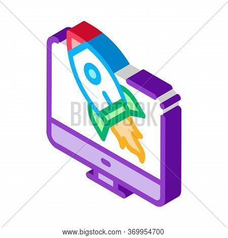 Rocket Computer Control Icon Vector. Isometric Rocket Computer Control Sign. Color Isolated Symbol I
