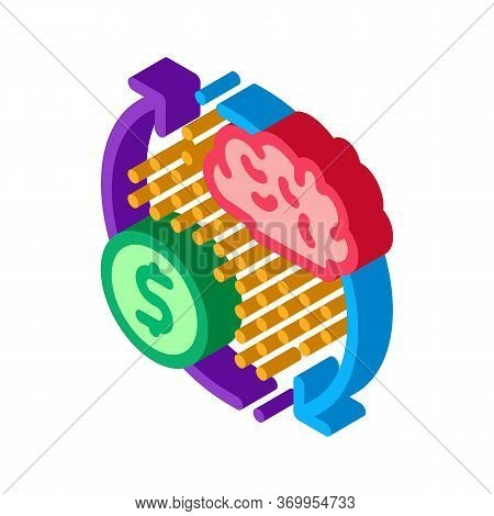 Brain Cycle And Money Icon Vector. Isometric Brain Cycle And Money Sign. Color Isolated Symbol Illus