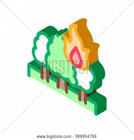 Wildfire Icon Vector. Isometric Wildfire Sign. Color Isolated Symbol Illustration