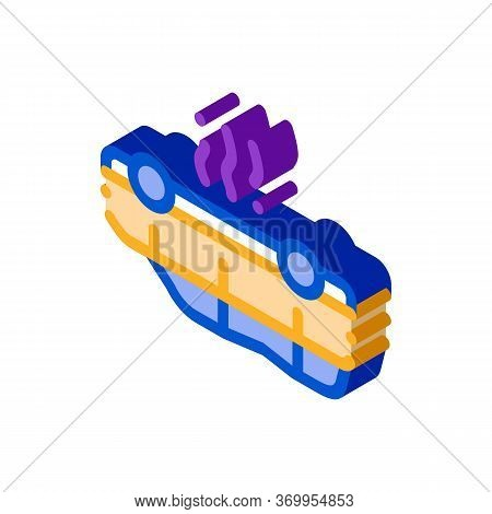 Inverted Car Icon Vector. Isometric Inverted Car Sign. Color Isolated Symbol Illustration