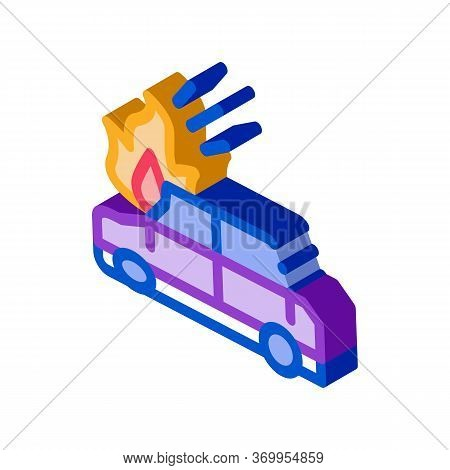 Car Ignition Icon Vector. Isometric Car Ignition Sign. Color Isolated Symbol Illustration