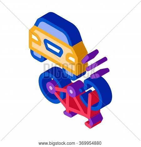 Bike And Car Accident Icon Vector. Isometric Bike And Car Accident Sign. Color Isolated Symbol Illus